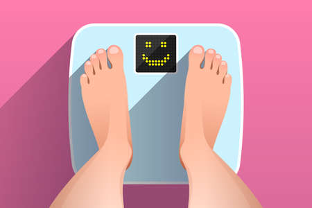 Woman is standing on bathroom scales with happy smiling face on display, over colored background, top view of feet. Weight measurement and control. Concept of healthy lifestyle, dieting and fitness