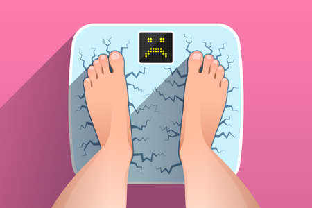 Woman is standing on broken cracked weight scales with unhappy face on display, over colored background, top view of feet. Weight measurement and control. Concept of overweight, unhealthy lifestyle