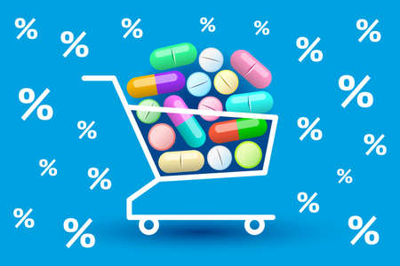 Many various colored tablets and pills are stacked in shopping cart, percent signs are around. Concept of buying of medicines, online sales of medication, discounts and promotions in pharmacy