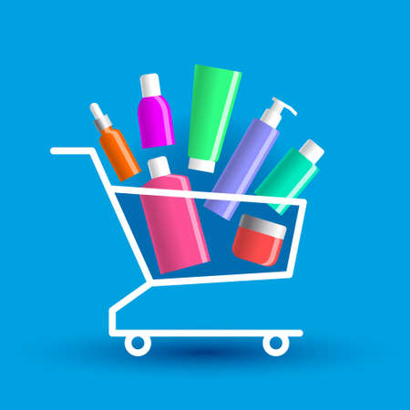 Many various colored beauty products are stacked in shopping cart. Concept of buying of cosmetics, online sales of cosmetic products, beauty and healthcare business
