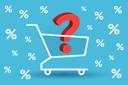 Red question mark is inside shopping cart, percent signs are around. Concept of product choosing, online shopping and buying, purchases in online stores, discounts and promotions