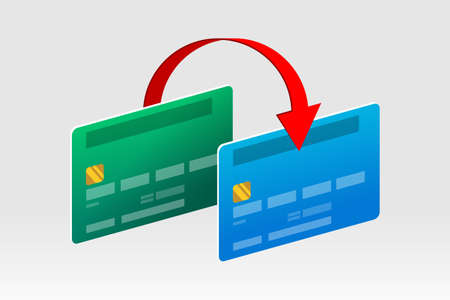 Two bank cards and red arrow above them, concept of money transferring from card to card, payments, finance operations, card transactions, e-commerce and business