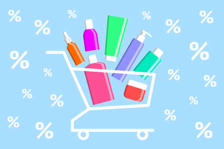 Many various colored beauty products are stacked in shopping cart, percent signs are around. Concept of buying of cosmetics, online sales of cosmetic products, holiday discounts and promotions Ilustração