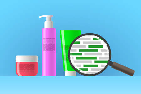 Cosmetic jar, bottle and tube, review of ingredients of cosmetic product using magnifier. Green blocks are indicating natural eco-friendly ingredients in composition of beauty or care product