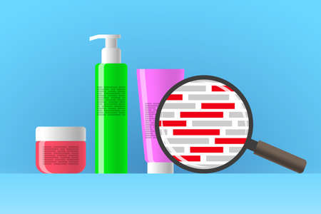 Cosmetic jar, bottle and tube, review of ingredients of cosmetic product using magnifier. Red blocks are indicating dangerous ingredients in composition of beauty or care product Ilustração