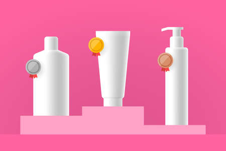 Three cosmetic products are placed on the podium and marked with gold, silver and bronze award medals. Concept of review, testing and evaluation of cosmetics, user reviews, client feedback and ratings Ilustração