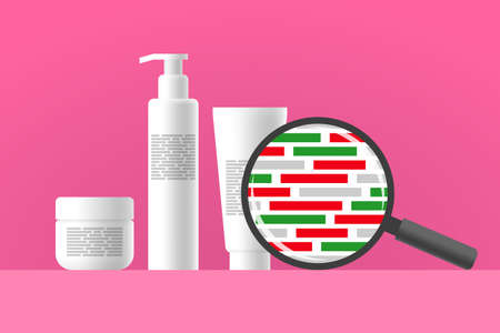 Cosmetic jar, bottle and tube, review of ingredients of cosmetic product using magnifier. Green blocks as natural ingredients, red blocks as dangerous ingredients in composition of care product