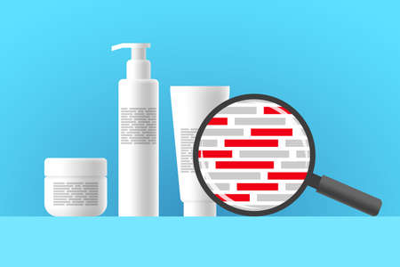White cosmetic jar, bottle and tube, review of ingredients of cosmetic product using magnifier. Red blocks are indicating dangerous ingredients in composition of beauty or care product Ilustração