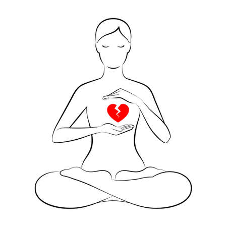 Black outline silhouette of slender woman sitting in lotus position and holding hands near her red broken cracked heart, isolated over white background. Concept of healing process after breakup