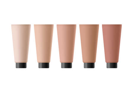 Cosmetic tubes of tonal creams, fluids or foundations for different skin tones, over white background. Concept of choosing tonal product or reviewing beauty products for skin Ilustração