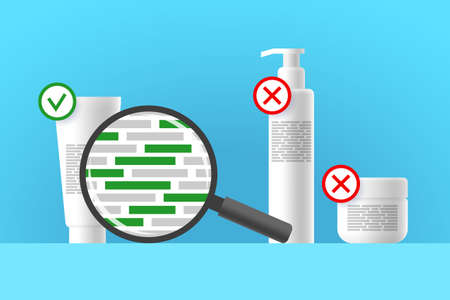 White cosmetic tube, bottle and jar, review of ingredients of cosmetic product using magnifier. Green blocks are indicating natural ingredients. Approved and rejected beauty or care products