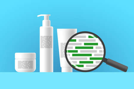 White cosmetic jar, bottle and tube, review of ingredients of cosmetic product using magnifier. Green blocks are indicating natural eco-friendly ingredients in composition of beauty or care product Ilustração
