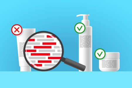 White cosmetic tube, bottle and jar, review of ingredients of cosmetic product using magnifier. Red blocks are indicating dangerous ingredients. Approved and rejected beauty or care products