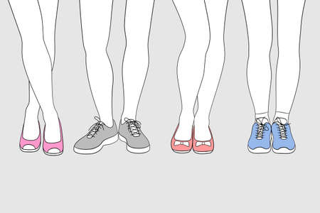 Outlines of woman's legs in different poses and with different shoes on feet, classic and sport styles. Concept of fashion and beauty trends in lady footwear. Coloring is available Ilustração