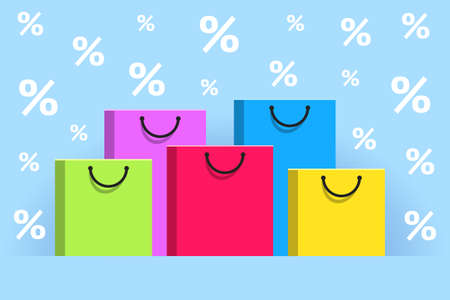 Colored paper shopping bags and white percent signs around them, over light blue background. Concept of seasonal discounts, promotions and sales, holiday shopping Ilustração