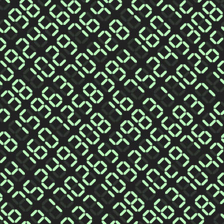 Seamless pattern of electronic board with bright random glowing digits, abstract background of led display