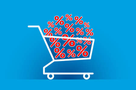 Many red percent signs are stacked in shopping cart, over blue background. Concept of big discounts, promotions, seasonal sales, buying of products, online shopping and consumerism