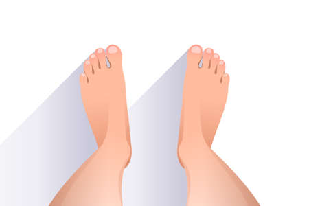 Legs of woman over white background, top view of feet