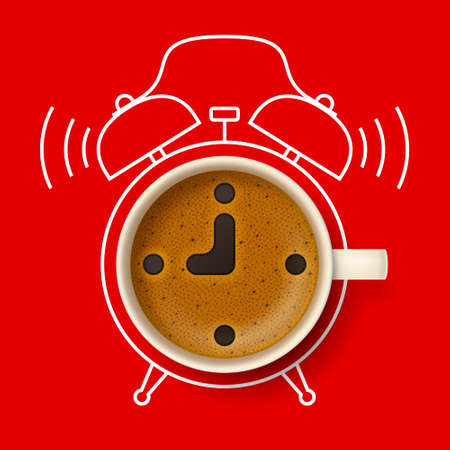 Cup of coffee with stylized clock face, hour and minute hands on frothy surface, with silhouette of alarm clock on background. Time to have a coffee break, coffee pause and relax, coffee time concept