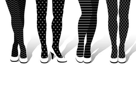 Beautiful woman's legs in different poses with fancy pantyhose with different patterns and big-heeled shoes on feet. Concept of fashion and beauty trends in lady legwear, black and white illustration