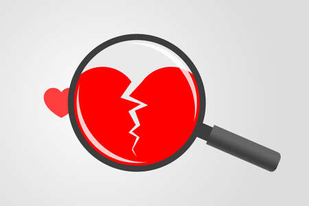Red heart symbol and magnifying glass above with cracked heart symbol inside it. Concept of unhappy love, relationship breakup, heartbreak, false impression that relations is fine Vektorgrafik