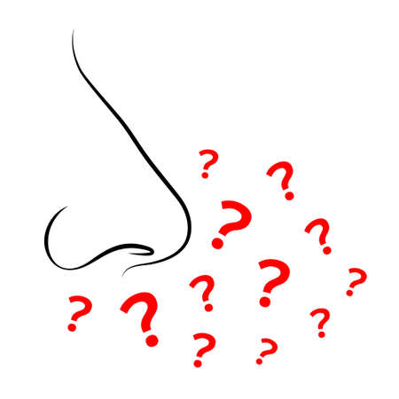Contours of person's nose and plenty of question marks. Concept of sense of smell, absence or loss of sense of smell during disease or allergy, stuffy nose as symptom of illness, smell recognition