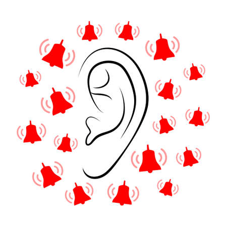 Contours of person's ear and plenty of small ringing red bells around it. Concept of hearing problem or diseases of hearing organs, or neurology problems Illustration