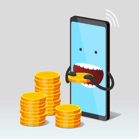 Modern mobile phone is eating gold coin, stacks of gold coins is nearby, over gray background. Concept of subscription fee and service payments, smartphone expenses Illustration