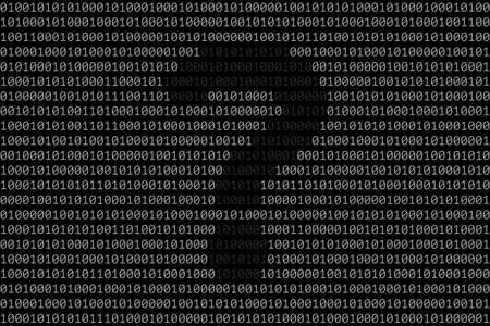 Silhouette of question mark over binary code surface. Concept of unidentified data and anonymity, search for answers in the digital information environment and cyber security. Modern technologies Illustration