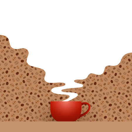 Red cup of fresh coffee and white hot steam with empty place for your text and design, over patterned background with stylized coffee beans. Coffee drinking, coffee break and leisure concept