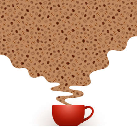 Red cup of fresh coffee and steam with pattern of stylized coffee beans, over white background with place for your text and design. Coffee drinking, coffee break and leisure concept
