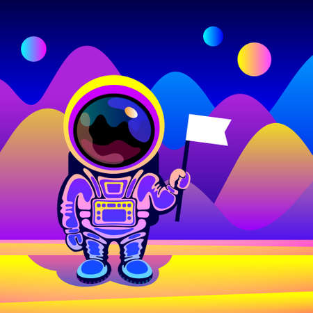 Cartoon cosmonaut wearing space suit is standing over fantastic landscape of alien planet and holding flag in hand. Concept of space travel, exploration of new planets, design for cosmonautics day Vector Illustration