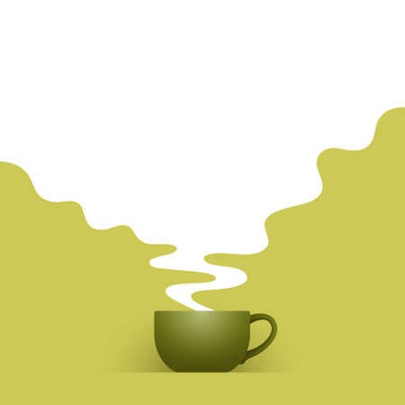 Ceramic cup of fresh green tea and white hot steam with empty place for your text and design, over light green background. Tea drinking and healthy life concept Illustration
