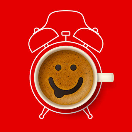 Cup of coffee with happy smiling face on frothy surface, with silhouette of alarm clock on background. Time to have a coffee break, relax and cheer up, coffee time concept Stock Photo