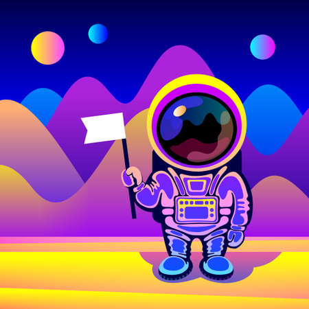 Cartoon cosmonaut wearing space suit is standing over fantastic landscape of alien planet and holding flag in hand. Concept of space travel, exploration of new planets, design for cosmonautics day