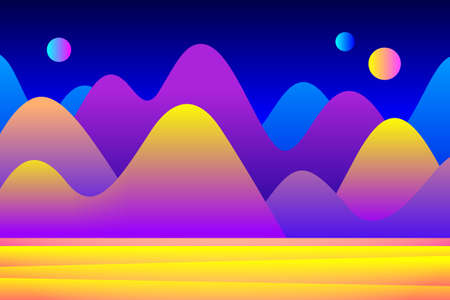 Fantastic landscape of alien planet with few shining stars in the sky and mountains. Concept of space travel, exploration of new planets, design for cosmonautics day