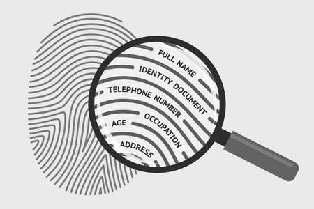 Fingerprint and magnifying glass with personal information. Concept of identification of person, getting personal data and information using fingerprint, biometrics control system Illustration