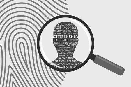 Fingerprint and magnifying glass, man's silhouette and personal information. Concept of identification of person, getting personal data and information using fingerprint, biometrics control system Illustration