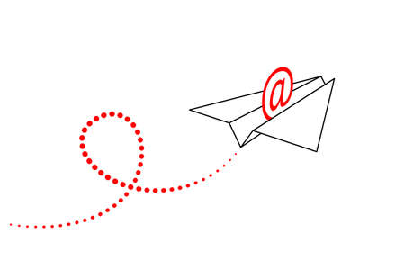 Stylized paper airplane with red address sign inside is flying forward up and contrail is behind. Concept of sending email, communication via email, business correspondence