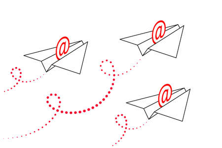 Stylized paper airplanes with red address signs inside are flying forward up, contrails is behind. Concept of sending email, communication via email, business correspondence Illustration