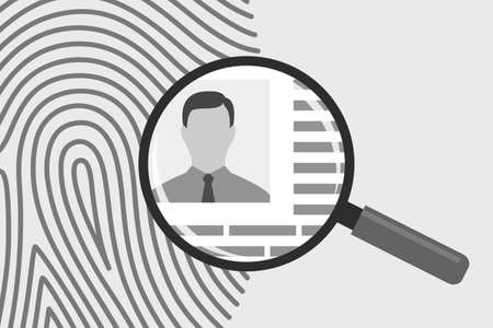 Fingerprint and magnifying glass with photo of man and personal information. Concept of identification of person, access to data and information using fingerprint, biometrics security Illustration