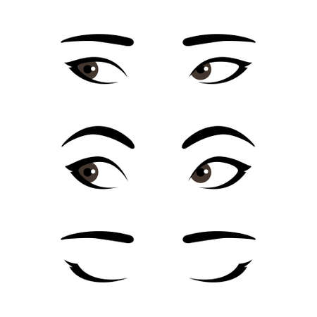 Set of stylized asian woman's eyes expressing different emotions, template for your design, open eyes with calm neutral expression, widened eyes with surprised look, closed eyes Illustration