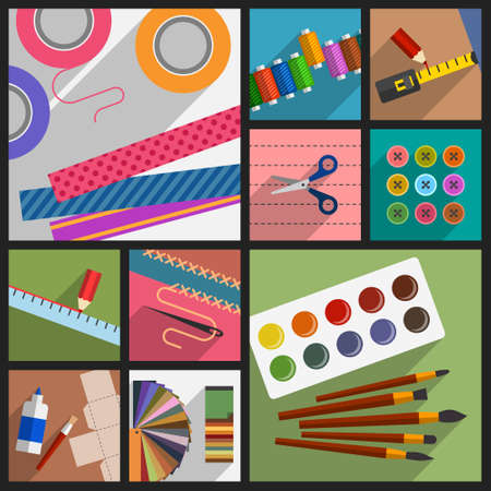 Collection of subjects and tools for do-it-yourself projects, creative hobbies, handmade works and leisure activities, home pastime, workshop accessories. DIY concept, cartoon flat style Illustration