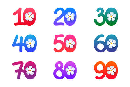 Set of colorful bright numbers with flowers, design for spring and summer sales and promotions. Ten, twenty, thirty, forty, fifty, sixty, seventy, eighty and ninety in funny style Ilustración de vector