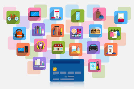 Bank plastic card and plenty of icons of goods around it. Concept of purchasing power, cashless payment for goods and services, purchases on credit Vettoriali