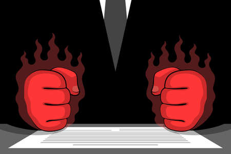 Clenched red fists of angry furious businessman or political person and document on table. Concept of being enraged from political failure, bad business deal, poor result, broken contract
