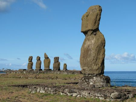 Group of moais on Ahu Tahai on the Easter Island (Rapa Nui) Stock Photo