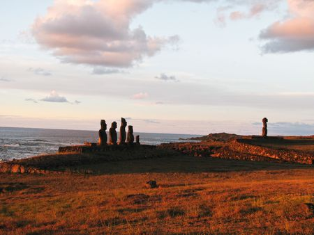 Moai statues of Ahu Tahai on the Polyneasian island of Easter Island (Rapa Nui). Stock Photo