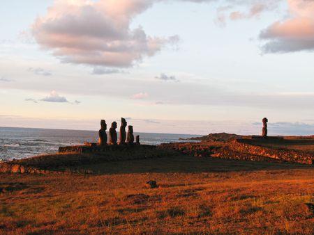 Moai statues of Ahu Tahai on the Polyneasian island of Easter Island (Rapa Nui). Stock Photo