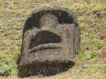 rapa: Giant stone head on Rapa Nui (Easter Island)